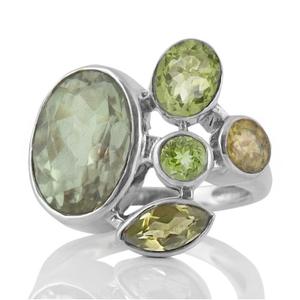 Сребърен пръстен с празиолит (зелен аметист), перидот, аметист и лимонов кварц