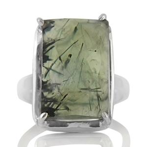 Сребърен пръстен с фасетиран пренит