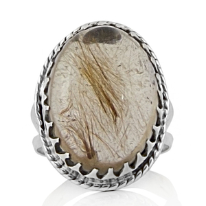 Сребърен пръстен с едър рутилов кварц (Косите на Венера)