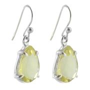 Нежни сребърни обеци с фасетиран лимонов кварц