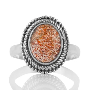 Нежен сребърен пръстен със слънчев камък