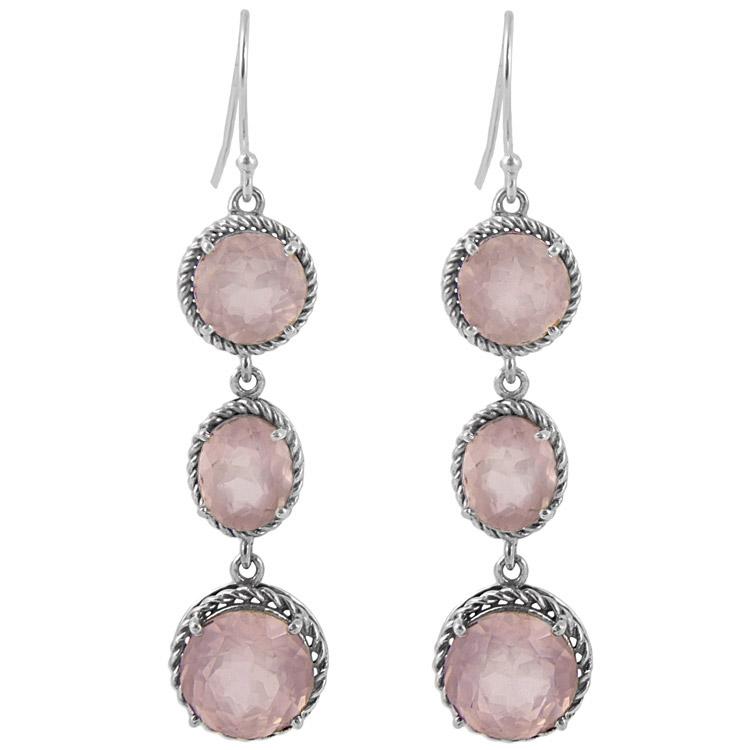 Дълги сребърни обеци с розов кварц