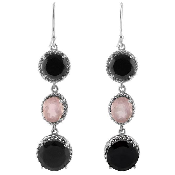 Дълги сребърни обеци с черен оникс и розов кварц