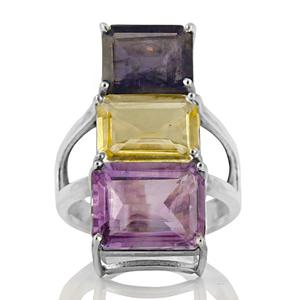 Сребърен пръстен с аметист, цитрин и иолит
