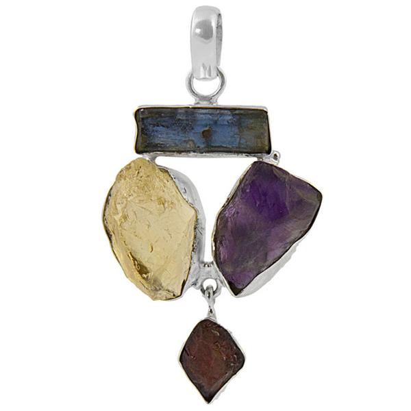 Сребърен медальон с необработен кианит, цитрин, аметист и гранат