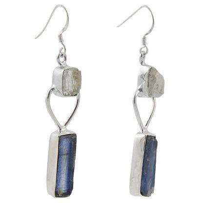 Сребърни обеци с необработен кианит и планински кристал