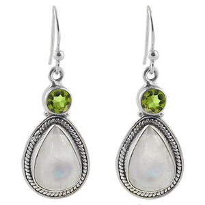 Сребърни обеци с перидот и лунен камък