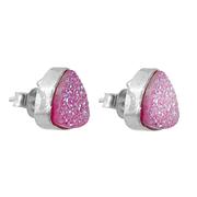 Сребърни обеци с розови друзи на винт
