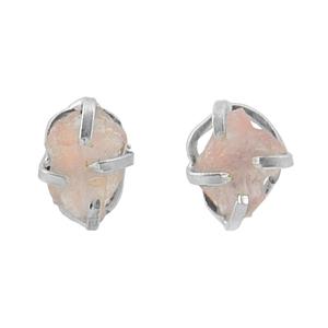 Сребърни обеци с необработен розов кварц на винт