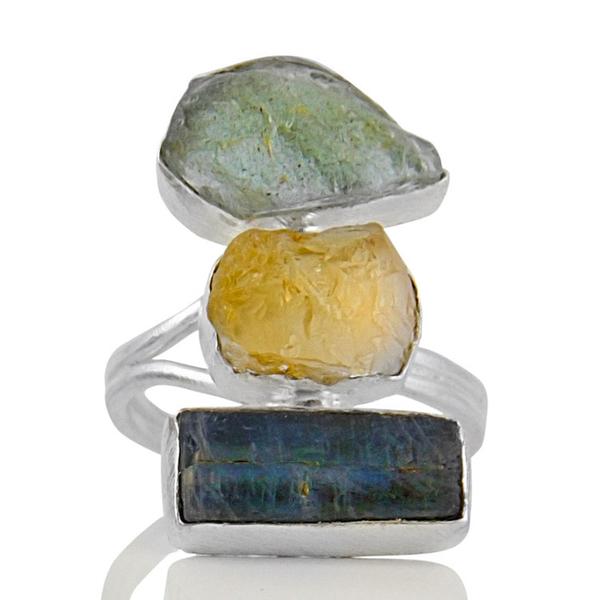 Сребърен пръстен с необработен кианит, аквамарин и цитрин