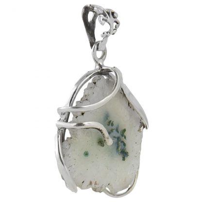 Сребърен медальон със сталактит кварц (соларен кварц)