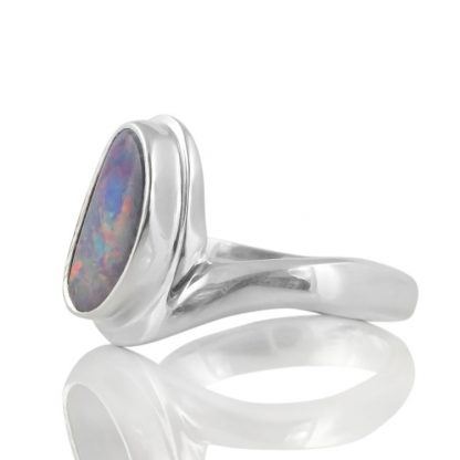 Сребърен пръстен с естествен австралийски опал