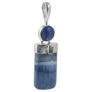 Сребърен медальон със син опал, кианит и фасетиран син топаз