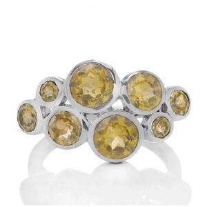 Сребърен пръстен с цитрини