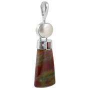 Сребърен медальон с хелиотроп (кървав камък), гранат и перла