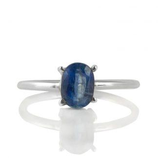 Нежен сребърен пръстен с фасетиран кианит