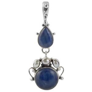 Сребърен медальон с кианит и перли