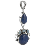 Сребърен медальон с кианит и сини топази