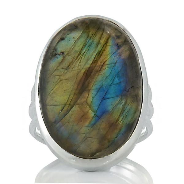 lСребърен пръстен с масивен лабрадорит