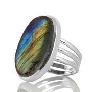 Сребърен пръстен с масивен лабрадорит