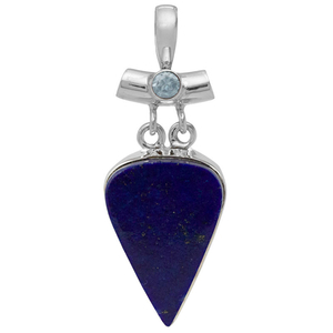 Сребърен медальон с лапис лазули и син топаз