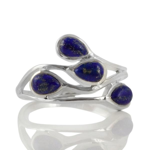 Нежен сребърен пръстен с кабошони лазурит (лапис лазули)
