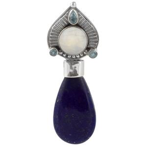Сребърен медальон с лазурит, лунен камък и сини топази