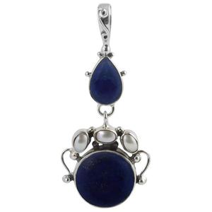 Сребърен медальон с лазурит (лапис лазули) и перли