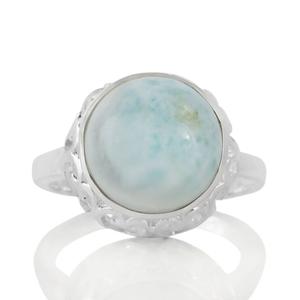 Сребърен пръстен със светъл ларимар