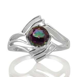 Сребърен пръстен с фасетиран мистик топаз