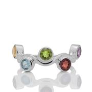 Сребърен пръстен с цитрин, гранат, аметист, перидот и син топаз - размер 59