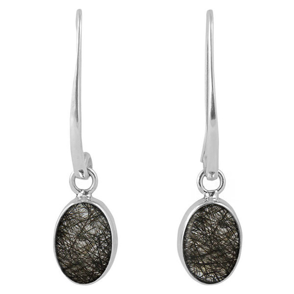 Сребърни обеци с кабошони турмалинов кварц