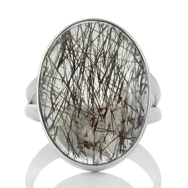 Сребърен пръстен с кабошон турмалинов кварц (Стрелите на Амур)