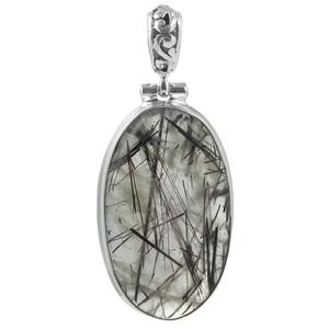 Сребърен медальон с кабошон турмалинов кварц