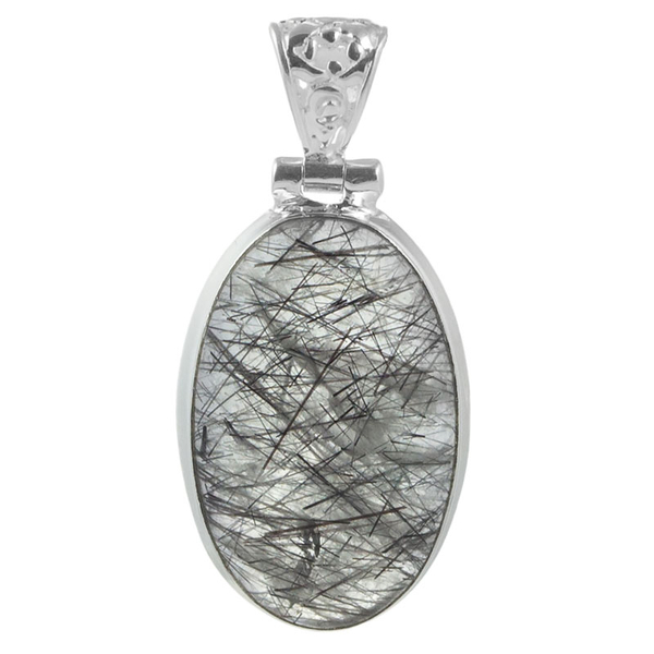 Сребърен медальон с турмалинов кварц (Стрелите на Амур)