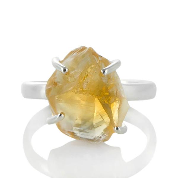 Сребърен пръстен с необработен цитрин