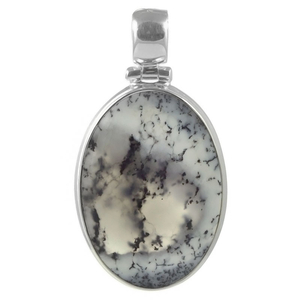 Сребърен медальон с овален дендро опал
