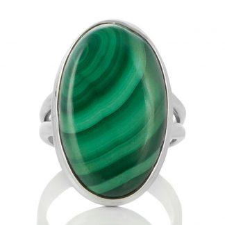 Сребърен овален пръстен с малахит