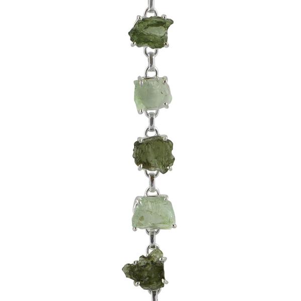 Сребърна гривна с необработен празиолит и молдавит