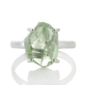 Сребърен пръстен с необработен празиолит