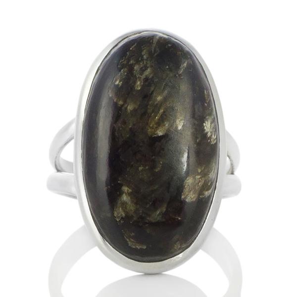 Сребърен пръстен с овален златен серафинит