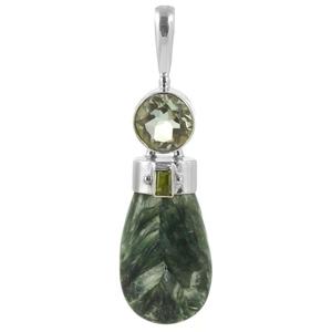 Сребърен медальон със серафинит, празиолит (зелен аметист) и перидот