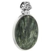 Овален сребърен медальон със серафинит