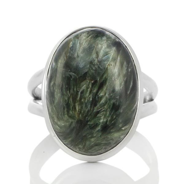 Сребърен пръстен със серафинит