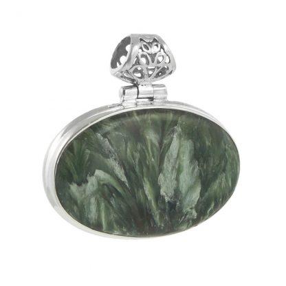 Сребърен медальон със серафинит