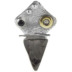 Сребърен медальон с необработен шунгит и черен оникс