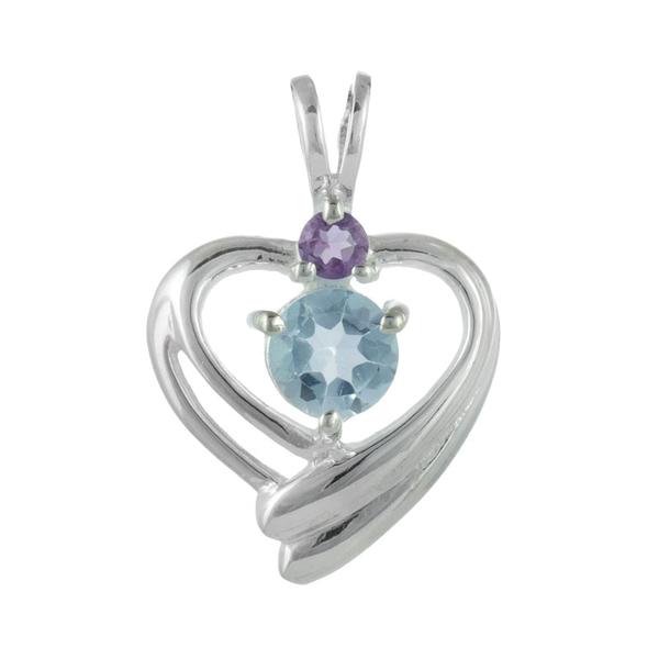 Нежна сребърна висулка-сърце с аметист и син топаз