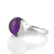 Сребърен пръстен с кабошон аметист