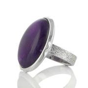 Сребърен пръстен с едър кабошон аметист