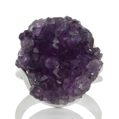 Сребърен пръстен с друза аметист